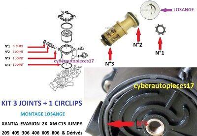 Kit 3 Joints + Clips + Notice Clapet Losange Filtre Go Xantia Jumpy 306 Xm ** 3