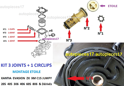 Kit 3 Joints  Reparation Support Filtre Go Zx Xantia Evasion 205 306 406 605 806 2