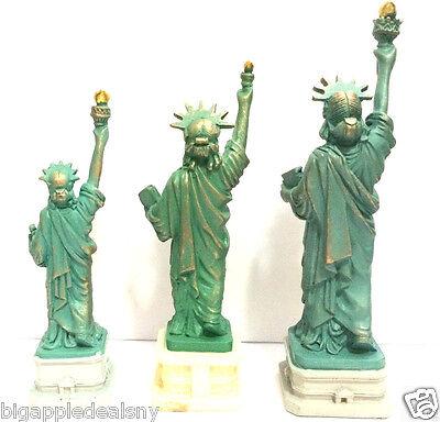 "3 PCS Statue of Liberty Replica Figurine w.Flag Base Souvenir from NYC 4"" 5"""