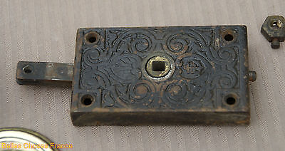 Antique Rare french iron door lock with gold copper round handle 4