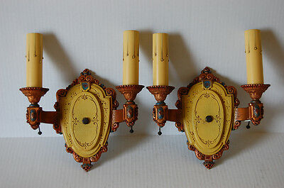 Two Pair Double Electric Candle Polychrome Sconces by Riddle Pull Chain Sockets 3