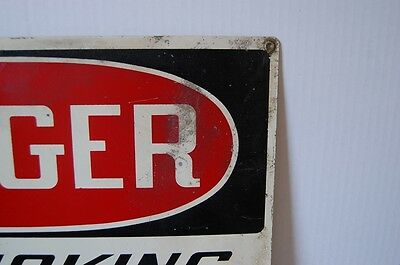 Industrial Antique DANGER NO SMOKING MATCHES OR OPEN LIGHTS Cautionary Sign 2