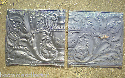 2 Antique Iridescent Victorian Ceiling Tin Tiles Acanthus Flowers Urn Leave Chic 3