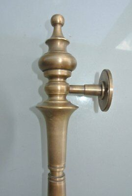 """large DOOR handle pulls solid SPUN pure brass vintage aged old style 12 """" B 5"""
