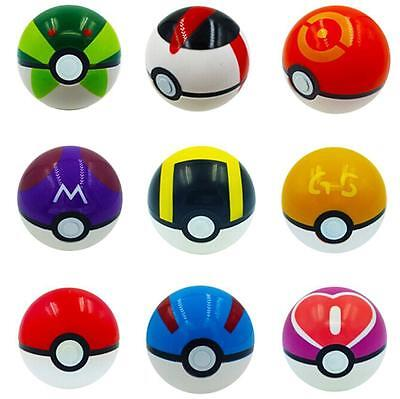 9 Pokemon Pokeball Pop-up 7cm Cartoon Plastic BALL Kids Toy Gift Pikachu Monster 5