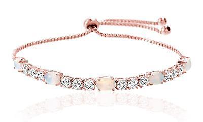 14K ROSE GOLD PL LCS COLORFUL OPAL Crystals BRACELET 8 INCH + GIFT! 3