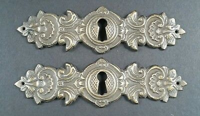 "2 Vintage Antique Style Ornate French Eschutcheons Key Hole Covers 4 3/4"" #E16 6"