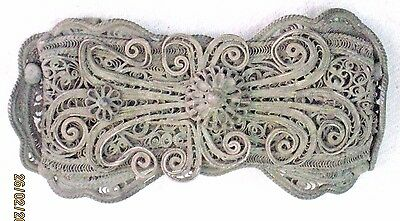 WOMAN BELT BUCKLE ANTIQUE COPPER SILVER PLATED FILIGREE EUROPE 19th CENTURY 3