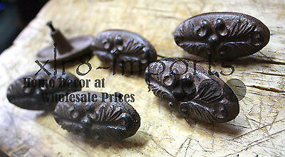 3 Cast Iron Antique Victorian Style OVAL Drawer Pull, Barn Handle, Door Handles 3