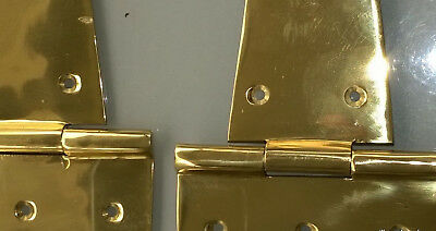 "4 Large hinges vintage POLISHED solid Brass DOOR box restore heavy 9"" long B 3"