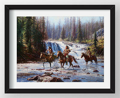 """HD Art Canvas Print Oil Painting Crow, National Park, The Waterfall ,16""""x20"""" 3"""