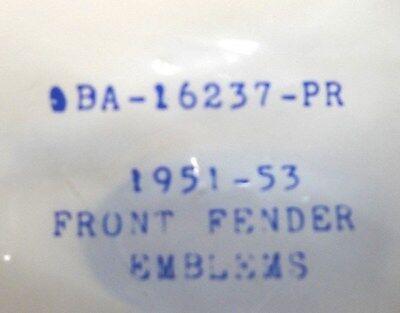 52 53 1952 1953 Ford /&  Mercury Car V8  Chrome Front Fender Emblems New