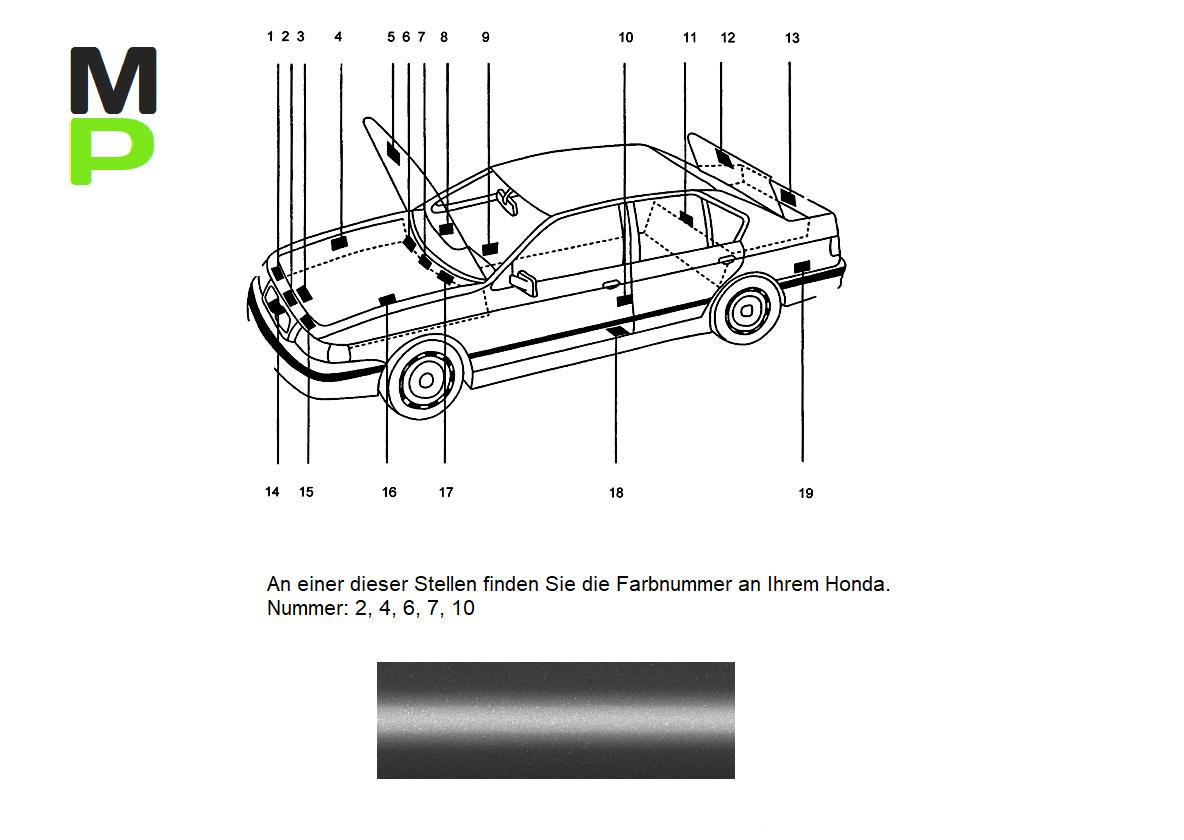 NH583M Vogue Silber Met Farbnummer Klarlack Lackstift Set geeignet für Honda