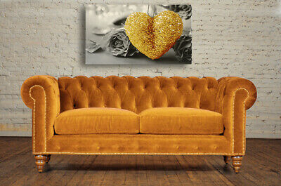 Yellow Ochre Heart Black And White Canvas Print Wall Art Picture 18 X 32 Inch 2