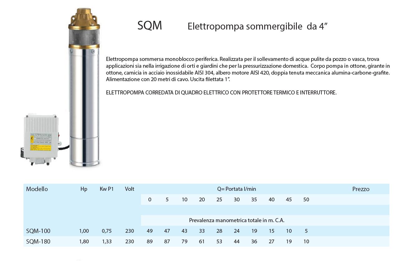 """Pompa sommersa per pozzi da 4"""" SQM elettropompa  HP 1 o HP 1,5  girante OTTONE"""