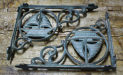 2 Cast Iron NAUTICAL SAIL BOAT Brackets Garden Braces Shelf Bracket PIRATES SHIP 2