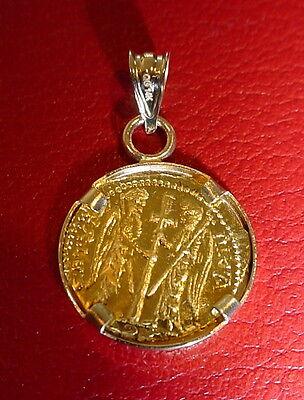 Christ first Byzantine coin icon Solid 22 Karat Gold Pendant 14K Bezel 5