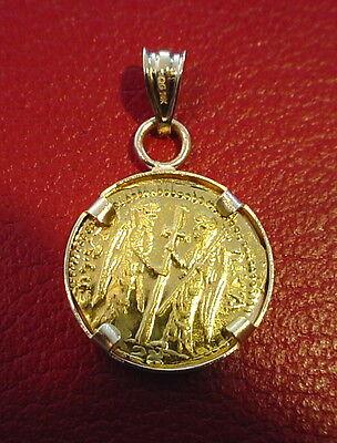 Christ first Byzantine coin icon Solid 22 Karat Gold Pendant 14K Bezel 3