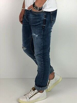 Young fashion destroyed Herren Style Skinny Röhre Blau Jeans Hose Basic Zerissen 3