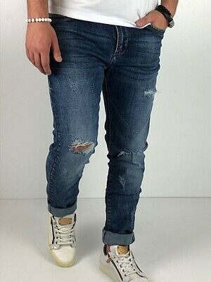Young fashion destroyed Herren Style Skinny Röhre Blau Jeans Hose Basic Zerissen 6