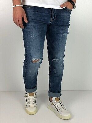 Young fashion destroyed Herren Style Skinny Röhre Blau Jeans Hose Basic Zerissen 2