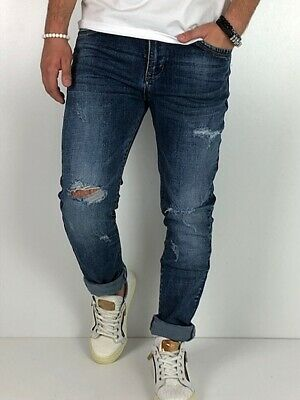 Young fashion destroyed Herren Style Skinny Röhre Blau Jeans Hose Basic Zerissen 4