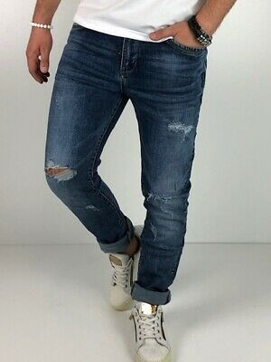 Young fashion destroyed Herren Style Skinny Röhre Blau Jeans Hose Basic Zerissen 7