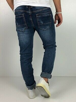 Young fashion destroyed Herren Style Skinny Röhre Blau Jeans Hose Basic Zerissen 8