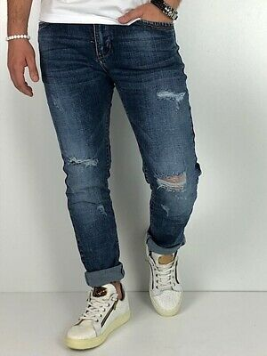 Young fashion destroyed Herren Style Skinny Röhre Blau Jeans Hose Basic Zerissen 5