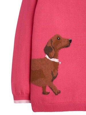 Joules Girls Meryl Intarsia Jumper - Ages 5 - 12 - Colours Deep Pink - Dalmation 3