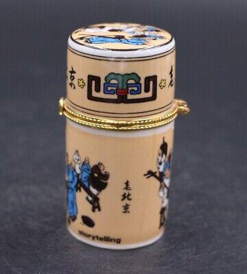 Decor Collect Handmade Porcelain Paint Peking Figure Noble Rare Toothpick Box 2