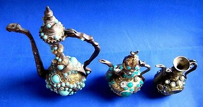 TURKISH ORNAMENTAL BRONZE & BRAS /  Kettle & PLASTIC ORNAMENTAL LOT OF 3 3