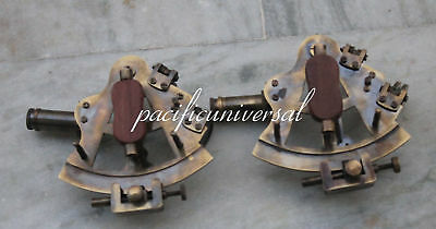 "2PCS 4"" BRASS SEXTANT Beautiful Solid Brass Marine Nautical ANTIQUE SEXTANT 3"