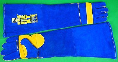 EXTRA LONG made with KEVLAR BLUE Gloves Welding Gloves Denim lined gloves