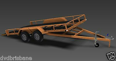 Trailer Plans - TILT FLATBED CAR TRAILER PLANS (14x6ft) - 2500kg - PLANS ON USB 3