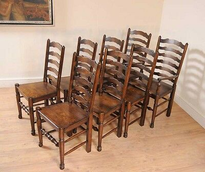 Set 8 Oak Ladderback Chairs Kitchen Dining Chair Farmhouse Furniture 10