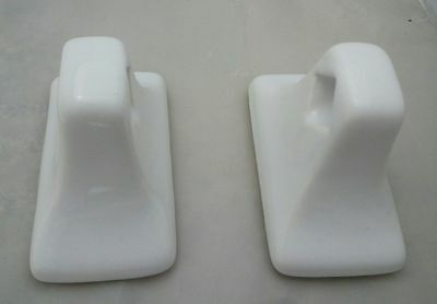 LOT 2 Sets MID CENTURY MODERN Vintage White Ceramic Bath Towel Bar Holders Rod