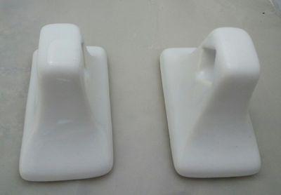 MID CENTURY MODERN Arctic White Ceramic MCM Vintage RETRO Towel Bar & TP Holders