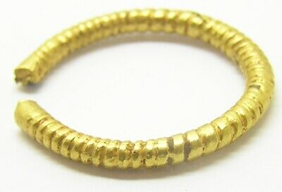 5th - 3rd century B.C. Iron Age Celtic Gold Plated Penannular Finger Ring Size 7 5