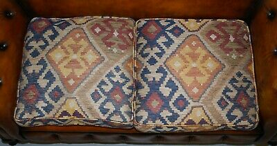 Pair Of Restored Victorian Gentleman Club Chesterfield Leather Sofas Kilim Seats 10
