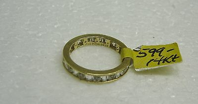 14K Yellow Gold Channel Set Baguette/Round Cubic Zirconia Ring Size 8 G32-R 6