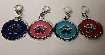 ENGRAVED PAW PRINT Pet Name Id Tag cat puppy dog collar 25mm nickel disc disk P 3