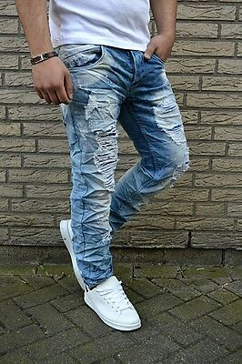 e362a6d2742f1 FASHION UK STYLE Rocker BIKER Destroyed Stone Washed Herren WILD Jeans Hose