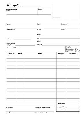 DIN A4 3 22203 Block Auftrag  // Auftragsblocks intern fach