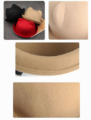 ... UK Lady Vogue Vintage Women s Cute Trendy Bowler Derby Hat Fashion Cat  Ears Soft 3 469e8afee6b2