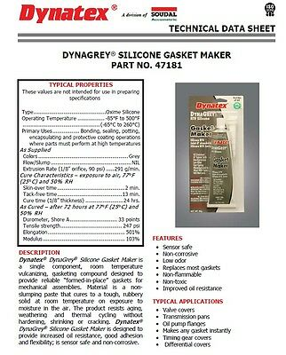 DYNATEX DYNAGREY RTV SILICONE GASKET MAKER *WILL NOT LEAK* MADE IN USA 85g Tube