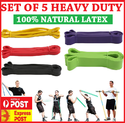 Set Of 5 Heavy Duty Resistance Band Loop Power Gym Fitness Exercise Yoga Workout 2