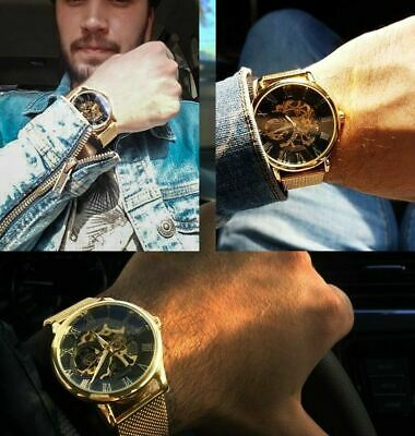 Men Skeleton Mechanical Wrist Watch Stainless Steel Luxury Steampunk Wristwatch 3