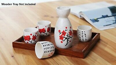 Japanese Traditional Sakura Patterned 5 Piece Sake Set 1 Bottle 4 Cups Gift Box 3