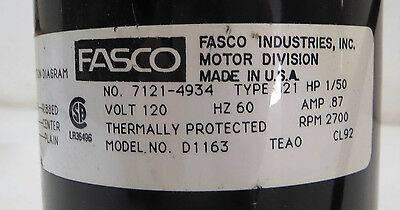 5 of 7 New Open Box Fasco Shaded Pole Electric Motor, Model: D1163, 1/50